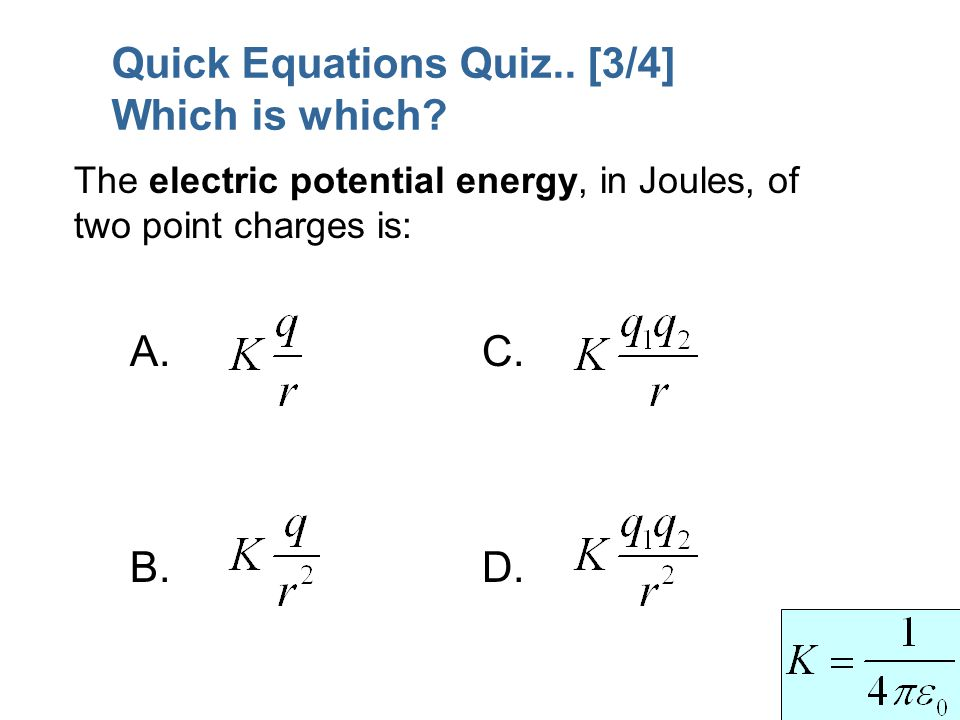 Quick Equations Quiz.. [3/4] Which is which